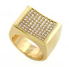 Men's 18K Gold Plated Brass Micro Paved Bling Iced Urban Hip Hop OG Ring 005