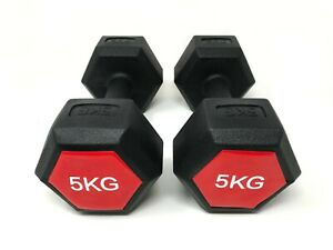 E-Deals Set of 2x5kg Portable Hand Dumbbells Hex Dumbbells Home Aerobic Training