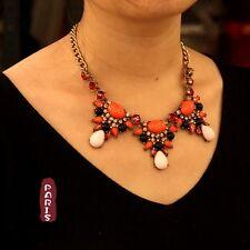 Collier Art Deco Goutte Violet Orange Ovale Rose Retro Original Mariage QT 10