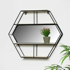 Hexagon Wall Display With Mirror Floating 3 Wooden Shelves Storage Decor Black