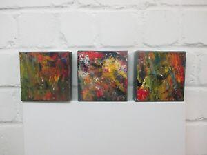 3 abstrakte  Objekte Sonja Zeltner-Müller Acryl/LW 3 x 15x15 cm Atelier Ddorf
