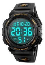 Men's Digital Outdoor Sports Waterproof Watch LED Luminous Black/Gold