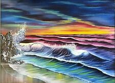 Original Signed and Dated Seascape Oil Painting Art 18x24 Canvas Bob Ross Style