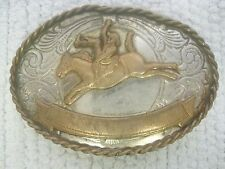 "Vintage German Silver Rodeo Belt Buckle 3 1/4"" x 2 1/4""-FAST SHIPPING!!"
