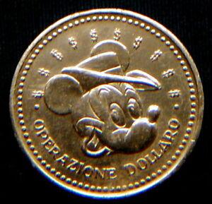 1970 Italy DISNEY rare golden COIN Bank of Paperopoli MICKEY MOUSE
