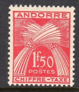 Andorra, French Administration Scott #J25 F/VF Unused 1943 1.50 F Postage Due