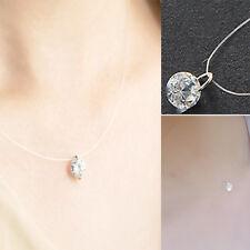 Women Invisible Transparent Fishing Line Chain Clear Zircon Pendant Necklace