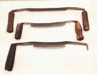 "Vtg antique 8"" 7"" 6"" drawknife spokeshave plane woodworking tool 3 pcs"