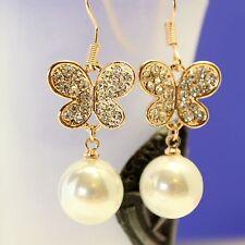 Alloy Clear Crystal Pearl Butterfly Wedding Drop Hook Earring ED1004