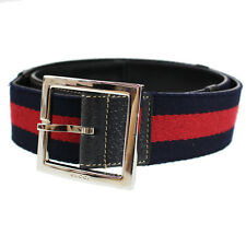 GUCCI Logos Vintage Web Stripe Belt Navy Red Canvas Leather Italy Auth #N95 M