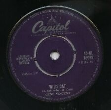 "GENE VINCENT   Rare 1959 UK Only 7"" OOP Capital Garage Rock Single ""Wild Cat"""