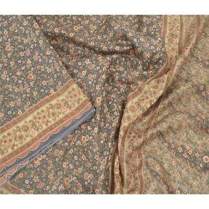 Sanskriti Vintage Green Indian Sarees Pure Silk Printed Sari Floral Craft Fabric