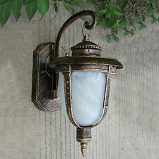 New listing Traditional Outdoor Wall Light Exterior Aluminum Glass Bronze Lantern Porch Lamp