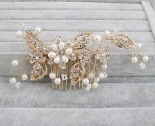 Wedding Hair Comb Gold Crystal Bridal Accessories Rhinestone Headpiece 1 Piece