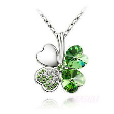 Women Charm Fashion Crystal Heart Lucky Four Leaf Clover Pendant Chain Necklace Green
