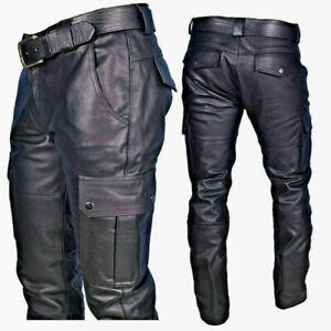 Homme Décontracté PU Cuir Pantalon Moto Motard Étroit Long Punk