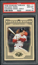 2008 Donruss Threads Anthony Rizzo Diamond Kings Gold PSA Gem Mint 10 1/2