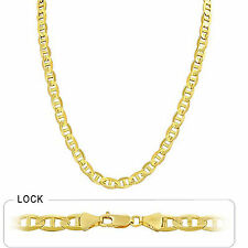 "7.00mm 30"" 56 gm 14k Solid Gold Yellow Men's Mariner Concave Link Chain Necklace"