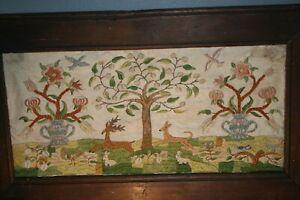 Old Folk Art Primitive Needlework Sampler American Birds, Deer, Rabbits, Flowers