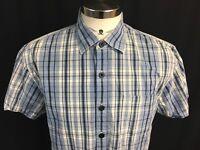 Nat Nast Mens Medium M Silk Button Front Short Sleeve Shirt Blue Plaid