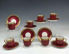 New ListingSet 8 Ahrenfeldt Limoges France Porcelain Red Gold Gilt Demitasse Cup Saucer Ald