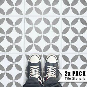 2x Tile Stencils - Bathroom Kitchen Wall Floor Tiles & Patio Slabs - Tsunagi