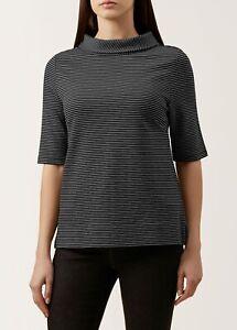 Hobbs Womens Black White Stripe Short Sleeve Betsy Top Size S