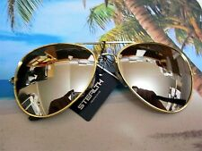 LARGE CLASSIC AVIATOR SUNGLASSES SILVER MIRROR LENS GOLD FRAME