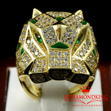 MEN'S GOLD FINISH REAL SILVER TIGER JAGUAR CAT SIMULATE GREEN EMERALD RING BAND