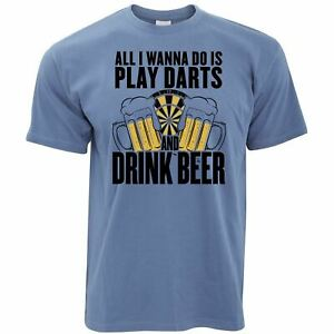 Mens Play Darts and Drink Beer T Shirt All I Want To Do Pub Slogan Tee