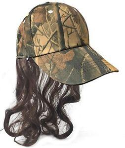 Camo Redneck Mullet Hat with Hair - Men's Hillbilly Halloween Costume Prop Wig
