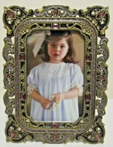"""4X6"""" Antique Vintage Style Gold Brass Purple Jeweled Picture Frame"""
