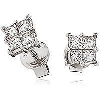 0.60ct F VS Diamond Earrings Princess Cut in 18ct White Gold