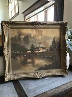Antique Lot 2 Painting PICTURE FRAME Mountain Scene Cottage Artist Unkown Gesso