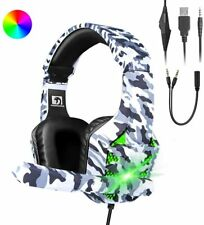 UK RGB Gaming Headset 3.5mm Camo Stereo Headphone USB Microphone For PC PS4 Xbox