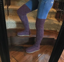 UGG Over The Knee TWISTED CABLE knit boots women 9 GRAPE Excellent Condition