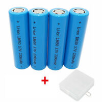 4X 18650 Battery 2200mAh 3.7V Li-ion High Drain Rechargeable&Case for Power Bank