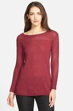 SZ M Eileen Fisher Red Saffron Washable Wool Mesh Detail Bateau Neck Tunic NWT
