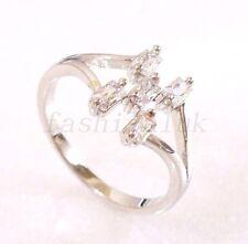 Mujer Niña Bañado en oro blanco negro claro Imitación Diamante Cuadros