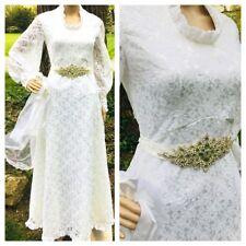 Vtg 1970s BOHO LACE White Handmade Bridal Wedding Dress Long sleeve Small Size 2