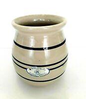 Vintage Marshall Stoneware Pottery Blue Stripe Crock vase Signed P. Rodrigo