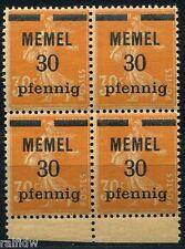Memel 30pf/30C Aufdruck 1920** Viererblock GC-Papier geprüft (S8341)