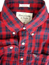 Abercrombie & Fitch Camisa Mens 15.5 S rojo y azul Check músculo