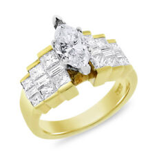 2.54 Carat Natural Diamond Marquise Step Setting Engagement Ring In Solid 18k Ye