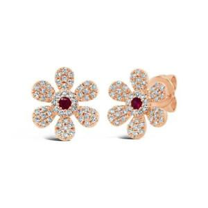 Ruby Diamond Flower Earring 14K Rose Gold Stud Pave Daisy Round Cut Natural 0.29