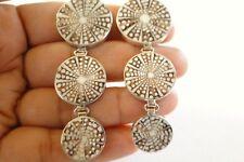 Sea Shell Seashell 3-Stone 925 Sterling Silver Dangle Earrings
