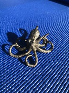 Octopus Pewter Finish Shelf Decor Coastal Nautical Statue Iron