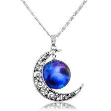 1 Mode Damen Halskette Filigran Mond Blau Rund Himmel Anhänger 48.5cm