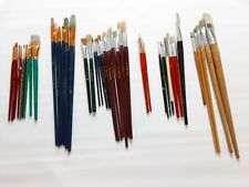 Huge Lot Of 42 Used Artist Craft Paint Brushes Art Supplies Painting