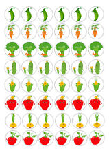 48 MINI VEGETABLES CUPCAKE TOPPERS ICED ICING FAIRY CAKE BUN TOPPERS